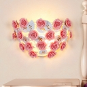 1 Light Rose Wall Lamp Sconce Pastoral Pink Metal Wall Mounted Light for Living Room