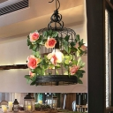 Birdcage Restaurant Suspension Lamp Industrial Metal 1 Bulb Black LED Pendant Light with Flower Decor