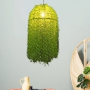 Plant Restaurant Suspension Lamp Industrial Metal 1-Light Green LED Down Lighting Pendant
