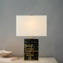 Rectangle Table Lamp Modern Fabric 1 Head White Task Light with Black Marble Base