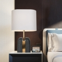 Oblong Fabric Table Light Modernism 1 Head Black Nightstand Lamp with Resin Base