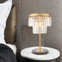 Gold Cylinder Reading Light Modern 3 Bulbs Beveled Crystal Nightstand Lamp for Bedroom