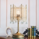 Bead Table Light Contemporary Clear Crystal 1 Bulb Gold/Silver Small Desk Lamp, 5.5