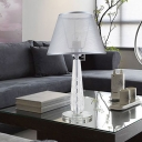 Modernism 1 Head Nightstand Lamp Grey Wide Flare Reading Light with Fabric Shade