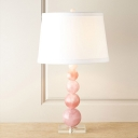 Fabric Tapered Drum Desk Lamp Modernist 1 Head Pink Table Light with Crystal Base
