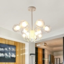 12 Heads Living Room Pendant Chandelier Modernist White Hanging Lamp with Ball Clear Glass Shade