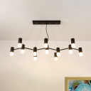 Modern Linear Branch Chandelier Metallic 12 Heads Restaurant Hanging Ceiling Light in Black