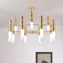 Modernism 12-Head Pendant Chandelier with Milk Glass Shade Gold Bamboo Suspension Light with Sputnik Design