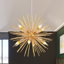 Aluminum Sea Urchin Pendant Lamp Post Modern 12 Lights Gold Finish Ceiling Chandelier for Bedroom