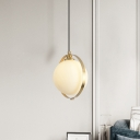 White Frosted Glass Ball Pendant Minimalist 1-Bulb Ceiling Hang Fixture with Brass Ring