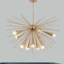 Modernist Sea Urchin Chandelier Lighting Metallic 10-Bulb Living Room Ceiling Pendant Lamp in Brass