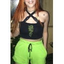 Club Girls Sleeveless Buckle Straps Hollow Out Dragon Printed Slim Fit Cropped Cami Top in Black