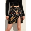 Vintage Unique Girls High Waist All Over Dragon Printed Split Front Mini A-Line Skirt in Black