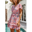 Casual Ladies Short Sleeve V-Neck All Over Floral Printed Ruffle Trimmed Short A-Line Dress