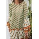 Casual Womens Bell Sleeve Round Neck All Over Flower Printed Patchwork Mini Swing Dress in Green