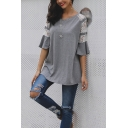 Grey Casual Bell Sleeve Round Neck Lace Panel Ruffled Relaxed T-Shirt for Ladies
