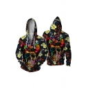 Stylish Street Mens Long Sleeve Zipper Front Drawstring Skull Floral All Over 3D Printed Loose Fit Hoodie