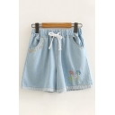 Simple Summer Drawstring Waist Floral Embroidered Contrasted Relaxed Denim Shorts for Girls