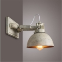 Iron Dome Sconce Lighting Vintage 1 Head Restaurant Handle Wall Mounted Lamp in Matte White
