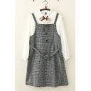 Casual Fashionable Womens Sleeveless Button Up Tied Waist Checker Pattern Short A-Line Cami Dress