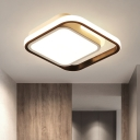 Modernism LED Flush Lighting Black Square Flush Ceiling Lamp with Acrylic Shade in White/Warm/3 Color Light