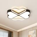 Black Finish Clover-Shape Flushmount Modern LED Acrylic Flush Ceiling Fixture in White/Warm Light