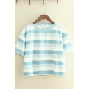 Classic Leisure Short Sleeve Round Neck Stripe Printed Relaxed Fit Crop Tee Top for Girls