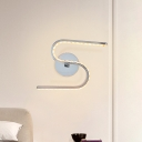 Metal S-Shaped Wall Light Sconce Modernism LED Chrome Wall Mounted Lamp for Bedside in White/Warm Light