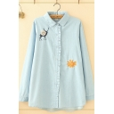 Cute Girls Long Sleeve Lapel Collar Button Down Deer Floral Embroidery Stringy Selvedge Loose Fit Shirt in Light Blue