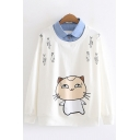 New Fashion Girls Long Sleeve Lapel Collar Fish Cat Patterned Contrasted Fake Two Piece Loose Pullover Sweatshirt