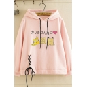 Popular Girls Long Sleeve Drawstring Japanese Letter Cat Graphic Lace Up Loose Hoodie