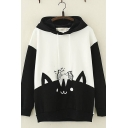 Stylish Girls Long Sleeve Fish Drawstring Japanese Letter Cat Graphic Color Block Loose Fit Hoodie