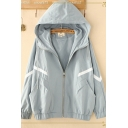 Novelty Long Sleeve Hooded Zipper Front Stripe Print Drawstring Loose Fit Trench Coat for Girls