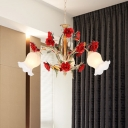 Metal Brown Chandelier Lighting Fixture Rose 3/6/8 Bulbs Vintage LED Hanging Ceiling Light for Living Room