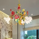 Pastoral Scalloped Chandelier Pendant Light 3/6/8 Heads Metal Suspension Lighting in Yellow with Flower Decoration