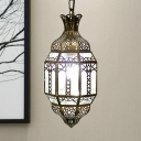 Arabian Lantern Pendant Lighting 1 Bulb Metal Ceiling Suspension Lamp in Brass for Restaurant