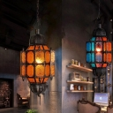 1 Bulb Metal Ceiling Suspension Lamp Decorative Black Lantern Restaurant Pendant Lighting