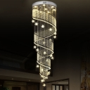 9 Lights Stair Multi Light Pendant Minimalism Silver LED Drop Lamp with Spiral Beveled Crystal Shade