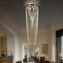 9 Bulbs Hall Cluster Pendant Contemporary Silver LED Ceiling Light with Bead Faceted Crystal Shade