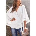 Ethnic Women's Solid Color Bell Sleeves Surplice Neck Tied Waist Lace Trim Loose Wrap Shirt