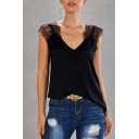 Fashion Street Sleeveless V-Neck Lace Trim Patched Loose Fit Tank Top for Women