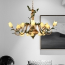Romantic Pastoral Tulip Chandelier Lamp 15 Heads Metal LED Down Lighting Pendant in Gold for Dining Room