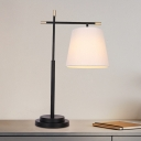 1 Head Bedroom Nightstand Lamp Modern Black Task Lighting with Conical Fabric Shade