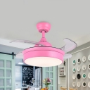 Kids Round Semi Flushmount LED Acrylic Ceiling Fan Lighting in Pink with 4 Clear Blades, 42