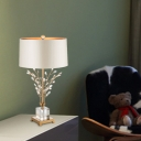 Leaf Desk Light Modern Clear Crystal 1 Bulb Gold Nightstand Lamp with Fabric Shade