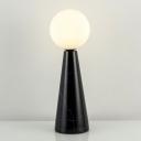 Opal Glass Sphere Desk Light Modern 1 Bulb Task Lighting with Black/White Tapered Marble Base