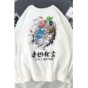 Novelty Guys' Long Sleeve Crew Neck Chinese Letter Dragon Printed Loose Fit Graphic Pullover Sweatshirt