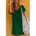 Casual Fancy Women's Short Sleeve V-Neck Solid Color Short Swing T-Shirt Dress