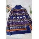 Winter Thick Long Sleeve Mock Neck Elk Floral Printed Relaxed Fit Knitted Pullover Sweater Top