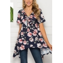 Fancy Women's Short Sleeve V-Neck Bow Tie Front All Over Flower Printed Asymmetric Hem Loose Fit Tee